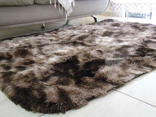 tapete sala 1,50x2,00 marrom peludo macio luxo + brinde top