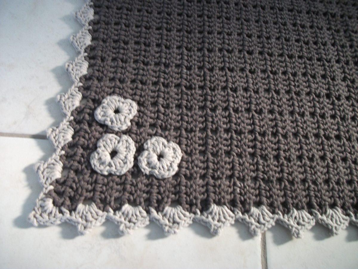 Tapete Sala Croch Em Barbante Cozinha Banheiro Porta R 98 00 Em  -> Tapetes De Croche Para Sala