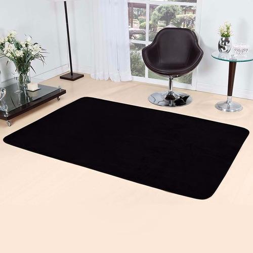 tapete sala ou quarto liso preto pelucia 2,00m x 1,40m