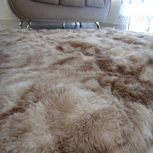 tapete sala peludo felpudo luxo macio 2,00 x 2,40 + brinde