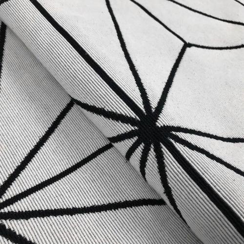 tapete sala quarto geométrico 1,32mx2,50m star branco preto