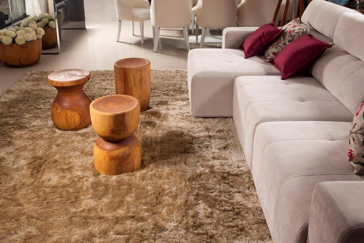 Tapete Shaggy 1×1 5m Luxor Sp Bege Caramelo 40mm Via Star R 441  -> Tapetes Para Sala Luxor