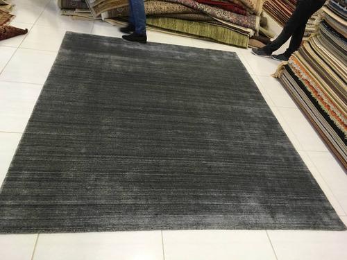 tapete silky cinza chumbo indiano sari 2,5x2m 2x2,5m artesan