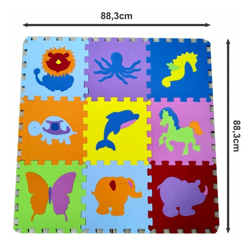 tapete tatame infantil eva bichinhos 9 peças 31x31cm - 7mm