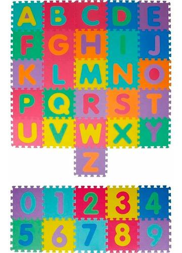 tapete tatame infantil eva letras e números 36 peças 12x s/j