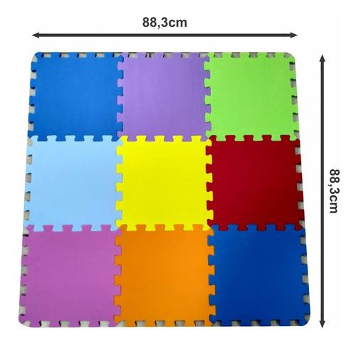 tapete tatame liso infantil eva 9 peças 31x31cm - 7mm