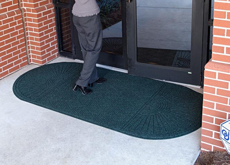 tapete tipo alfombra 2 medios ovalo color verde de 91x216