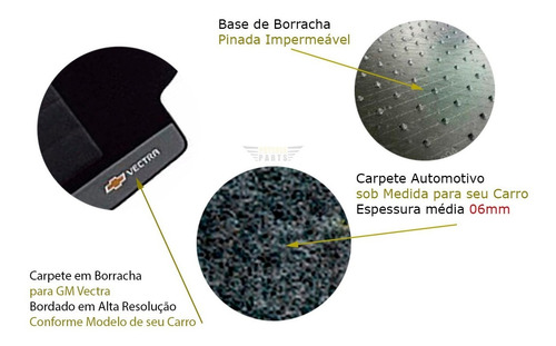 tapete vectra 2007 08 09 10 11 carpete bordado preto  05 pçs
