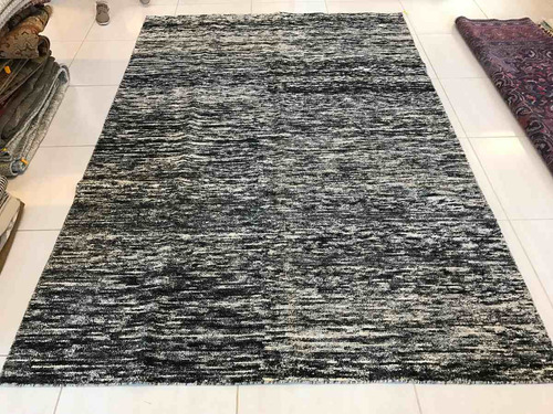 tapete zero pile indiano 2x1.5m artesanal preto e branco