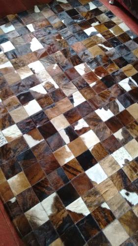 tapetes de couro legitimo mesclado 10x10cm