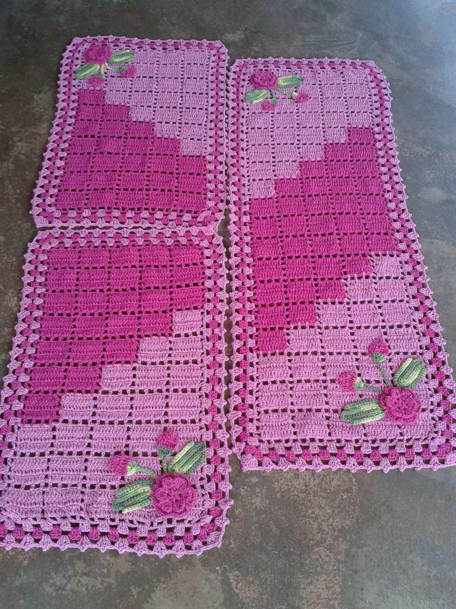Armario Tv Integrada ~ Tapetes De Croche Barbante R$ 140,00 em Mercado Livre