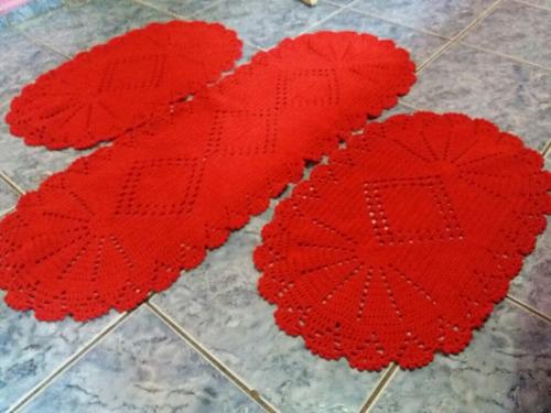 tapetes para cozinha de crochê