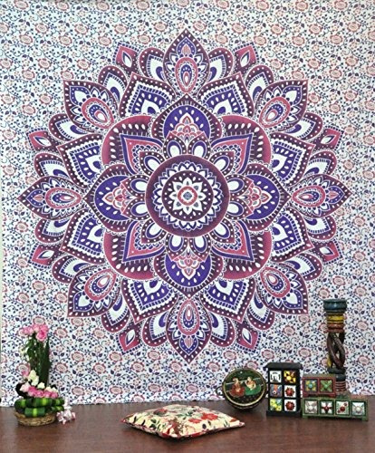 tapices,jaipurhandloom pink ombre mandala tapices hippie..