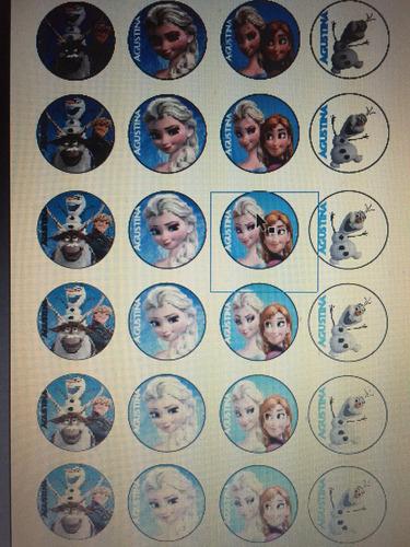 tapitas alfajores impresos 5 paq x 24u consultar personajes