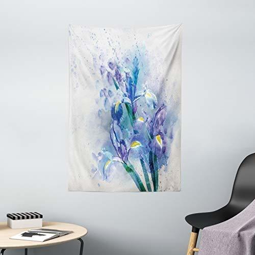 tapiz de flores de acuarela ambesonne, iris de fondo floral