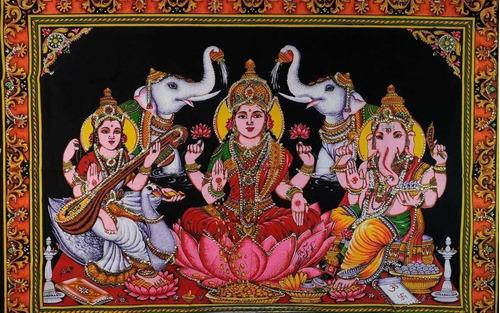 tapiz saraswati+lakshmi+ganesh