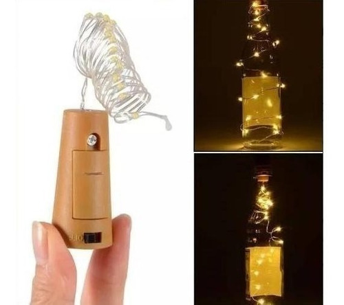 tapon luminoso botella vino tira led 2m corcho luz