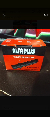 taquete de plastico 6.4mm (1/4 ) paquete de 20 cajas