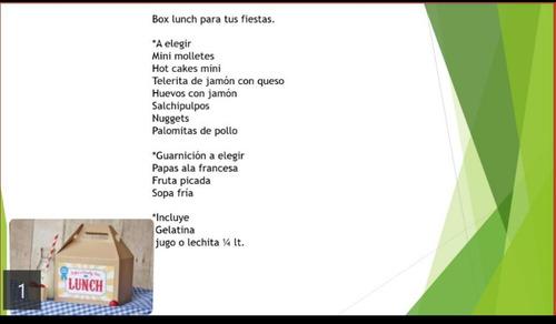 taquizas 100%caseras,box lunch, bocadillos