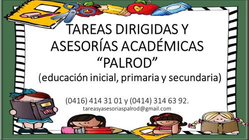 tareas dirigidas y asesorías. inicial, primaria y secundaria