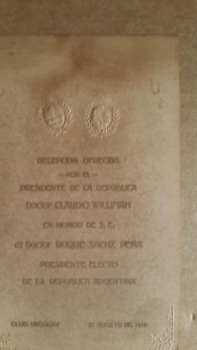 tarj invitación en honor sr r saenz peña, 1910 club uruguay