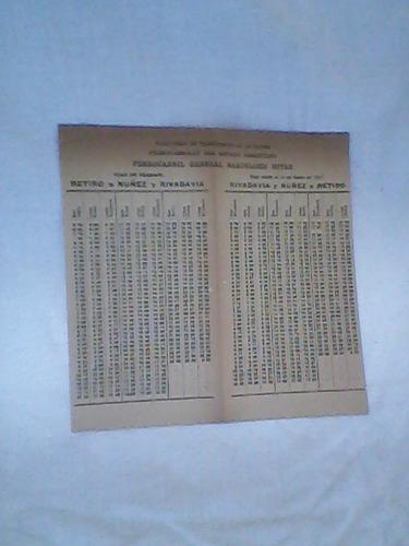 tarjeta 1957 horarios ferrocarril mitre / muy buen estado /