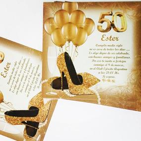 Tarjeta 50 60 80 Años Mujer 13x13 Cm 30u