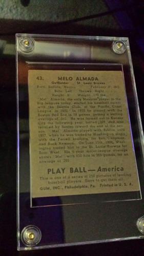 tarjeta antigua de baldomero el melo almada playball de 1939
