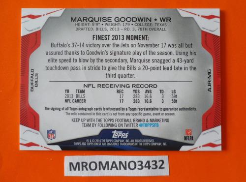 tarjeta autografo y pedazo de jersey marquise goodwin bills