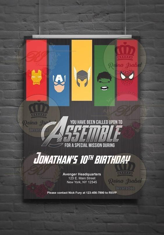 Tarjeta Avengers Invitacion Cumpleaños Bautismo Super Heroes