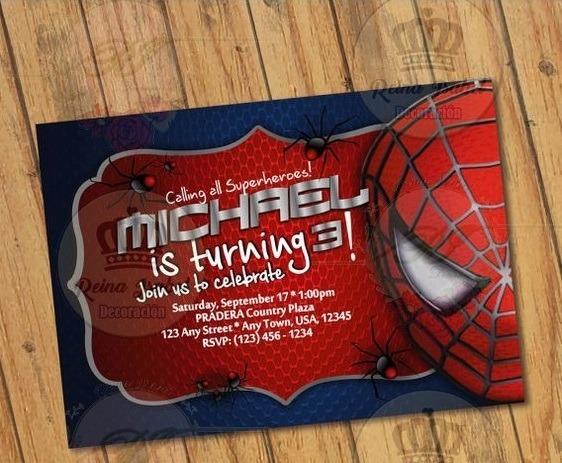 Tarjeta Avengers Invitacion Cumpleaños Hombre Araña