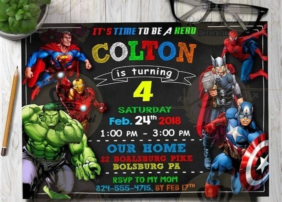 Tarjeta Avengers Invitacion Super Heroes Cumpleaños