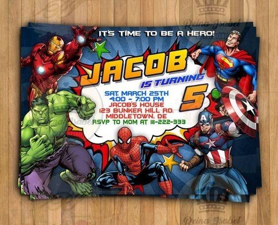 Tarjeta Avengers Invitacion Super Heroes Cumpleaños Bautismo