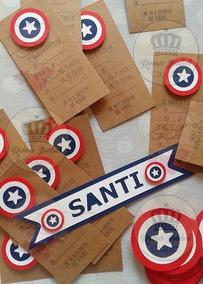 Tarjeta Capitan America Invitacion Cumpleaños Avengers