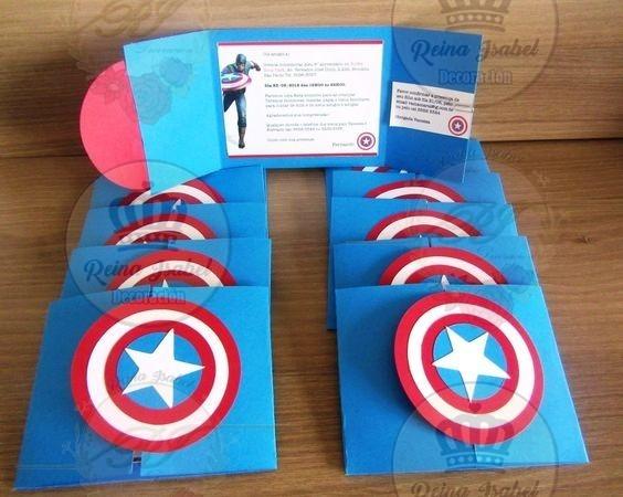 Tarjeta Capitan America Invitacion Cumpleaños Avengers Candy