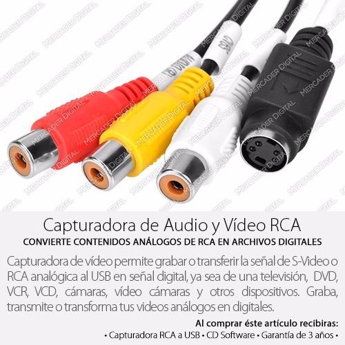 tarjeta capturadora rca a usb audio y vídeo + envío gratis