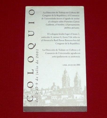tarjeta coloquio francisco garcía calderón 2001 congreso