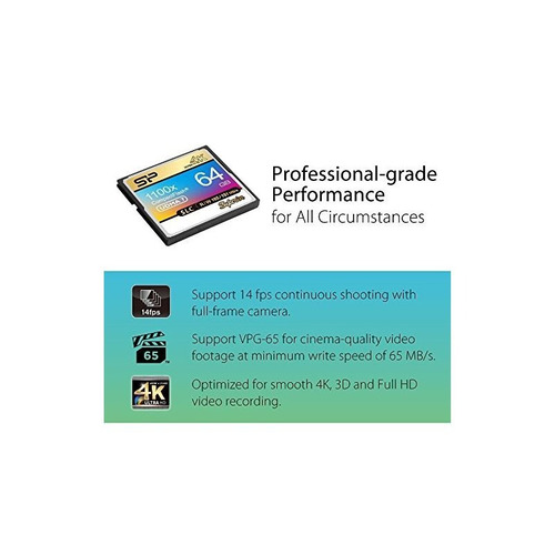 tarjeta compact flash cf 1100x vpg-65 de silicon power 64gb