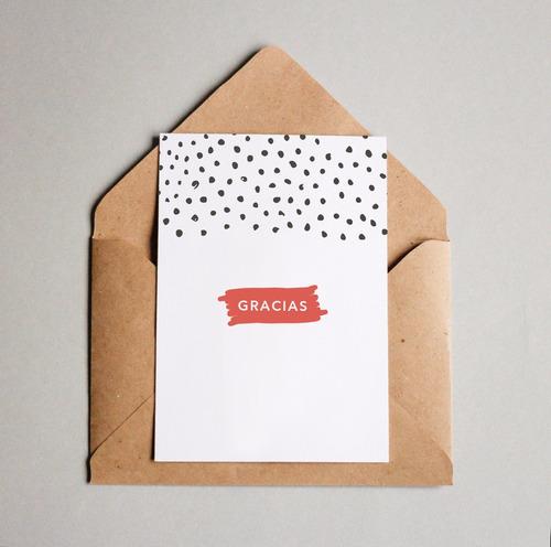 tarjeta con sobre kraft agradecimiento 10x15cm pack x4
