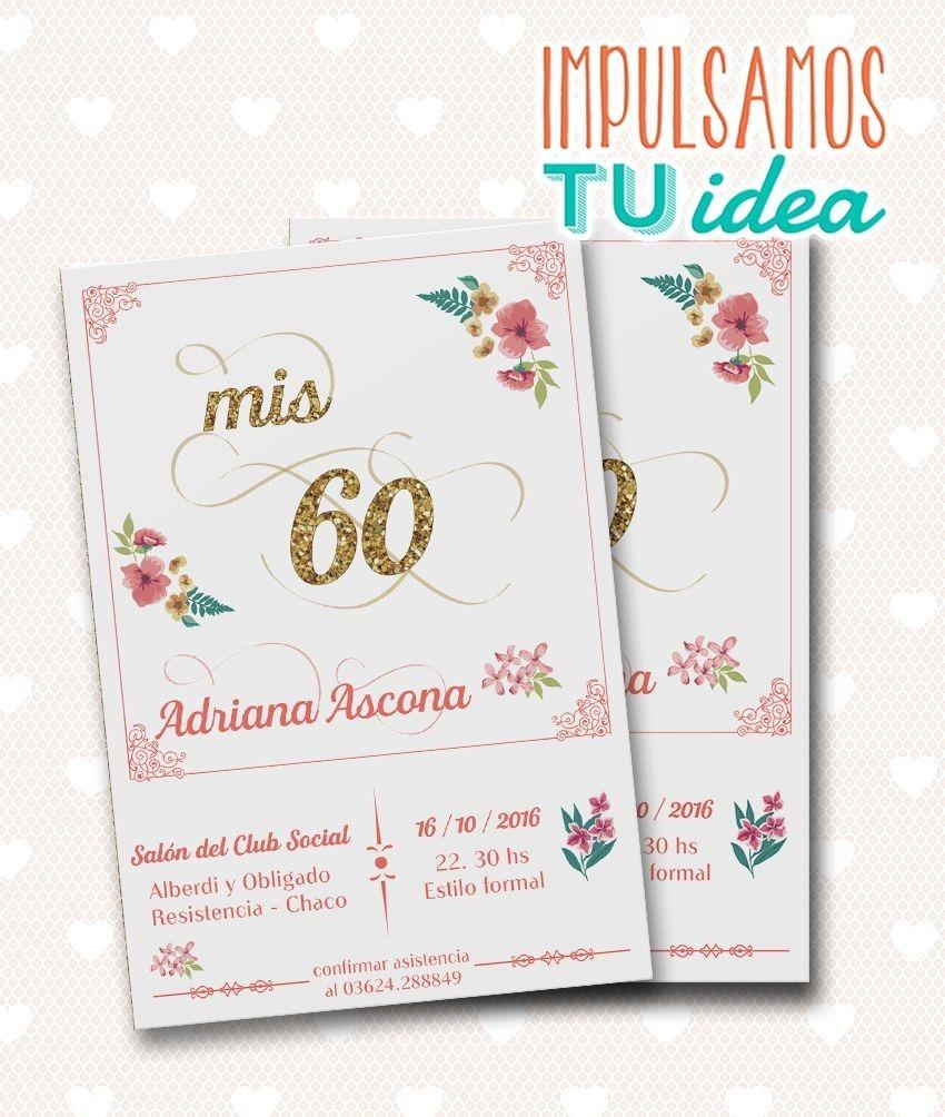 Tarjeta Cumple 60 Años Invitación 50 Años Para Imprimir