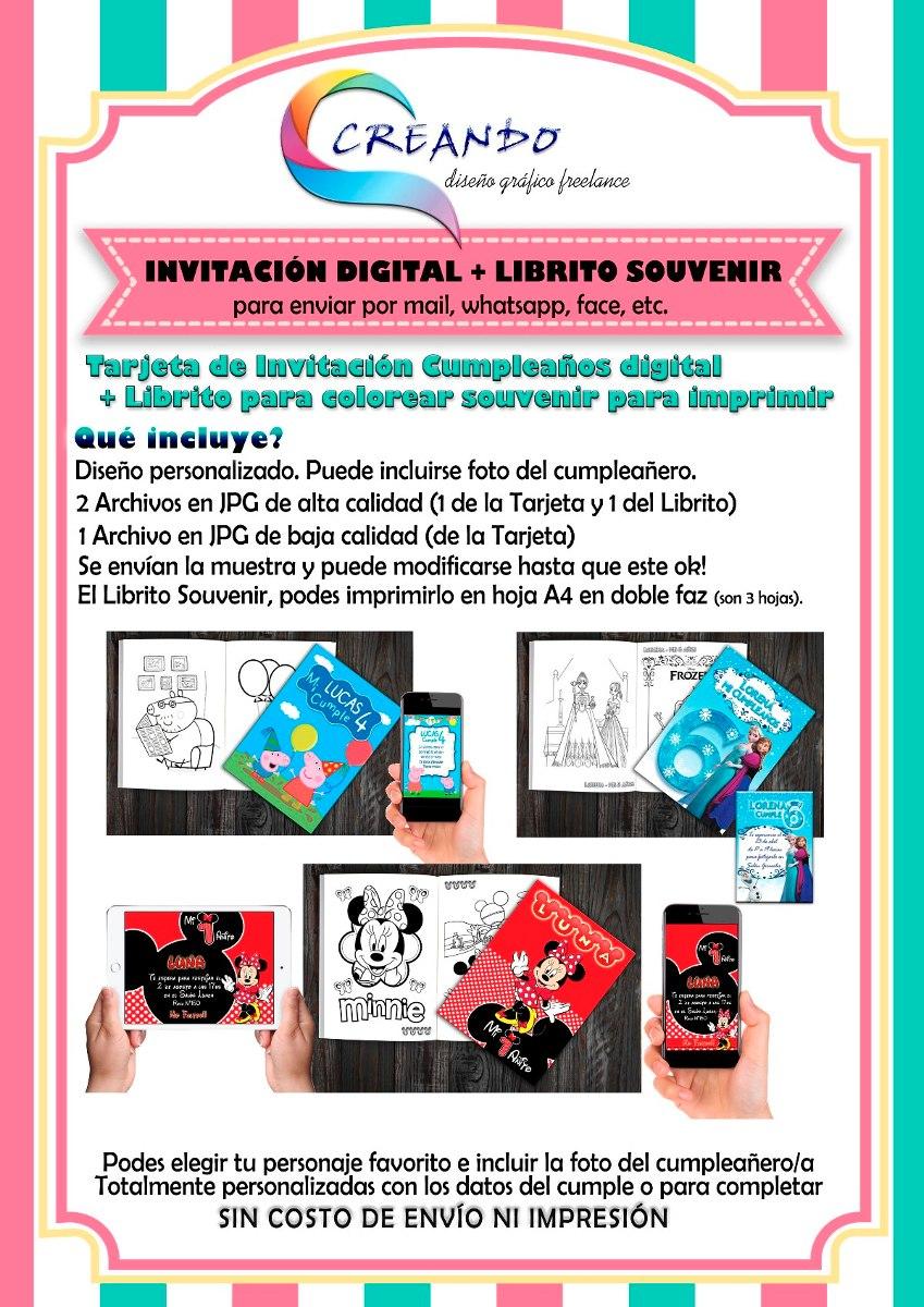 Tarjeta Cumpleaños Digital + Libro Para Colorear Souvenir - $ 250,00 ...