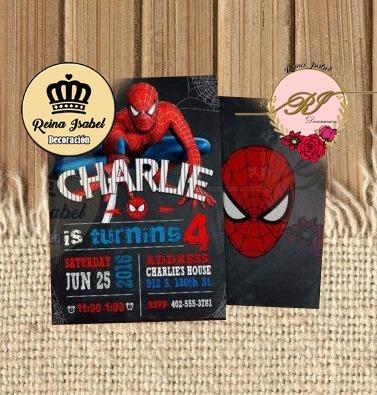 Tarjeta Cumpleaños Hombre Araña Super Heroes Invitacion