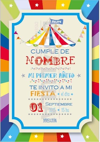 Tarjeta Invitacion Cumpleanos Infantil Circo Original 429 En - Tarjeta-cumpleanos