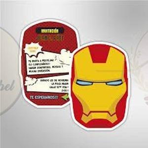 Tarjeta Cumpleaños Iron Man Super Heroes Invitacion Avengers