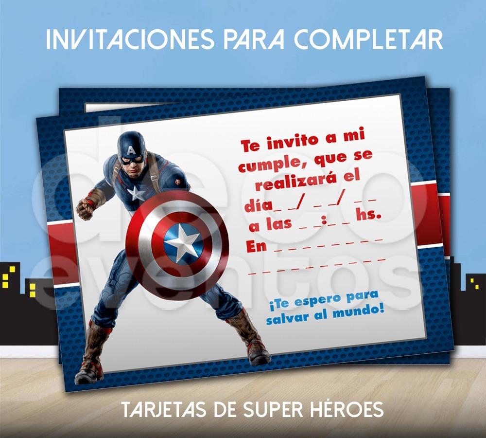 Tarjeta Cumpleaños P Imprimir Super Héroes Capitán América