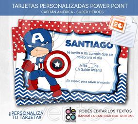 Tarjeta Cumpleaños Super Héroes Capitán América Power Point