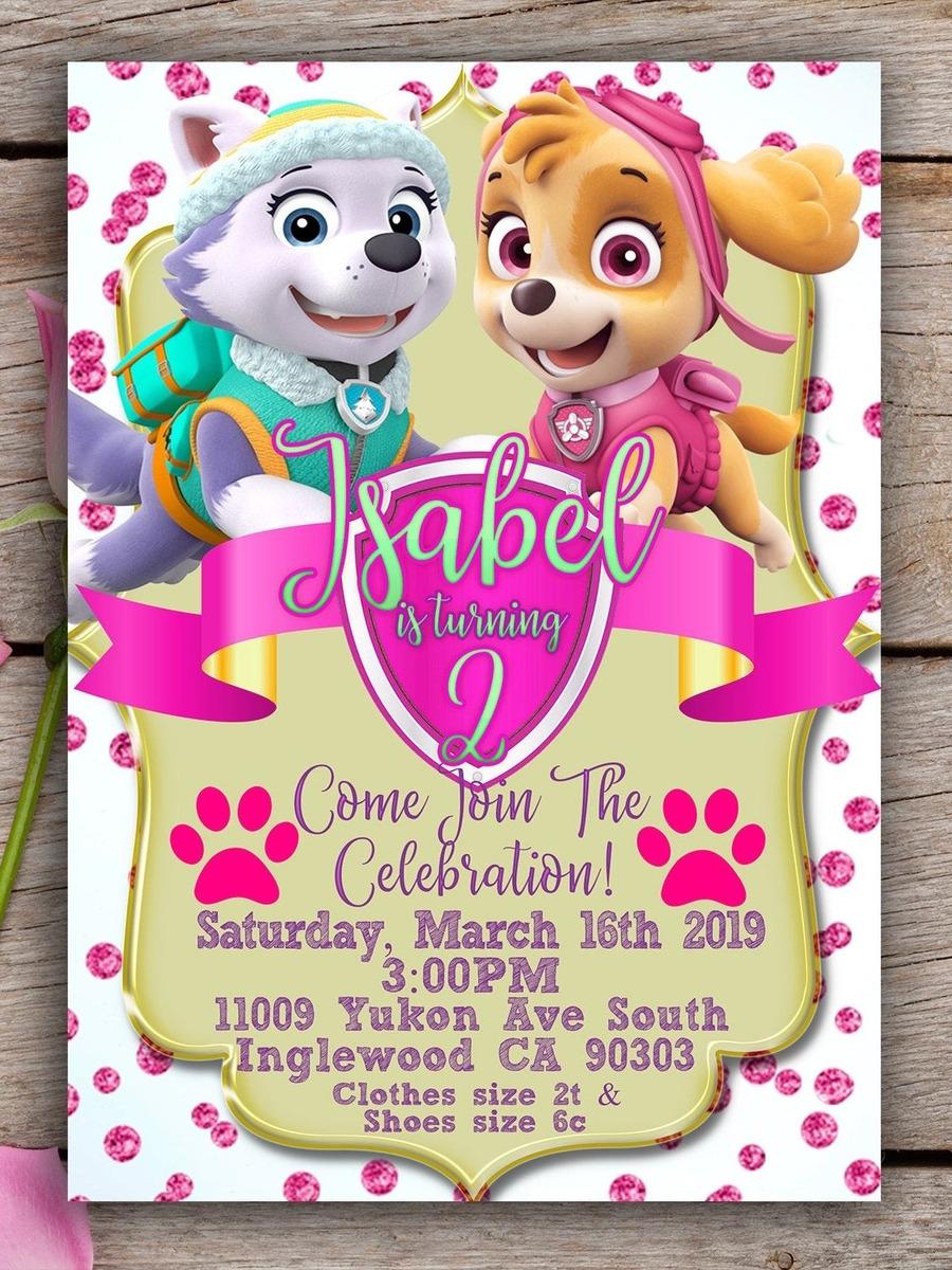 Tarjeta De Cumpleaños Paw Patrol Invitación Digital