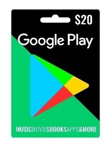 tarjeta de google play de 20 dólares