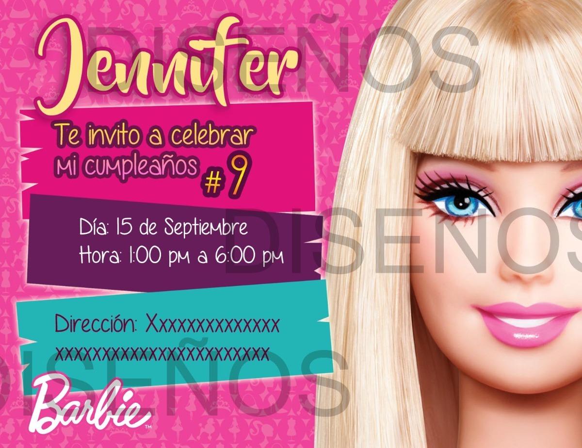 Tarjeta De Invitación Barbie Personalizada