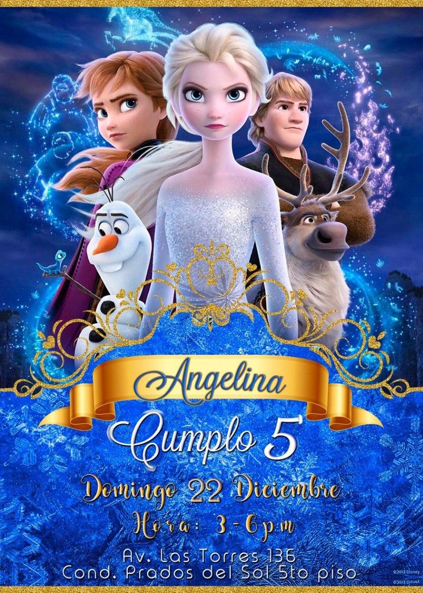 Tarjeta De Invitación Cumpleaños Digital Frozen 2 Princesas